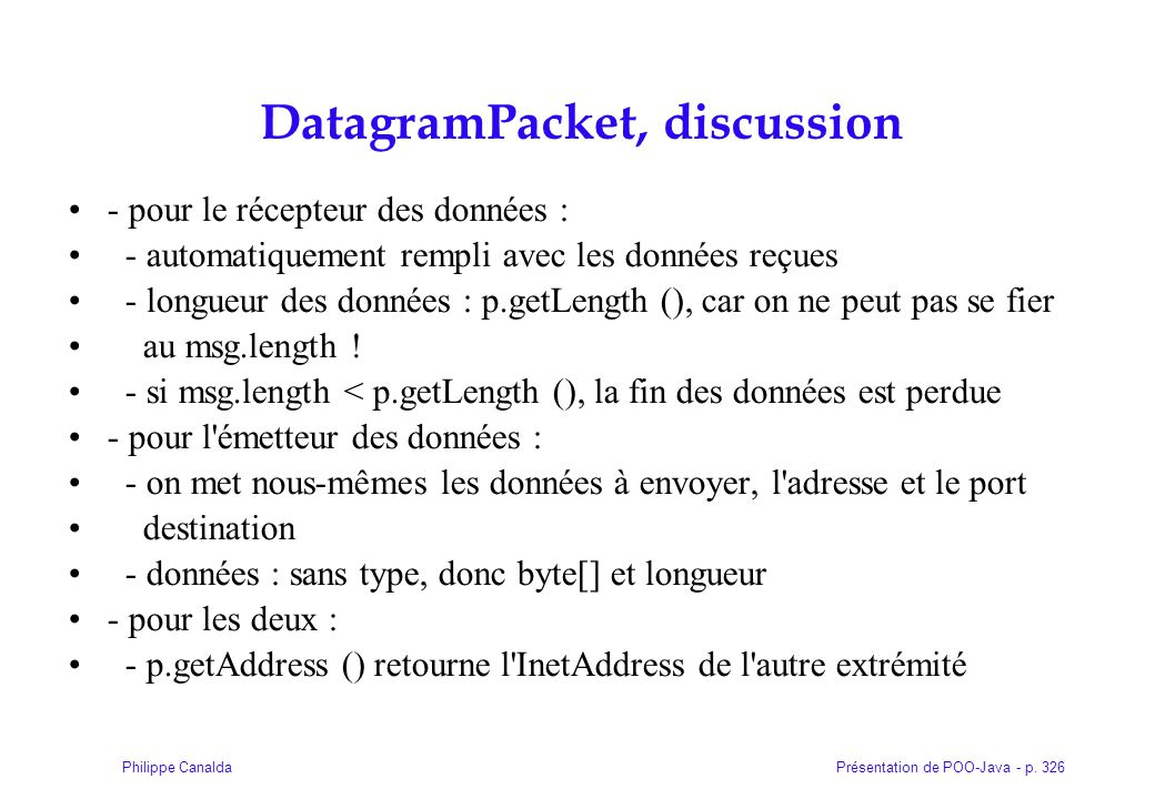 DatagramPacket, discussion