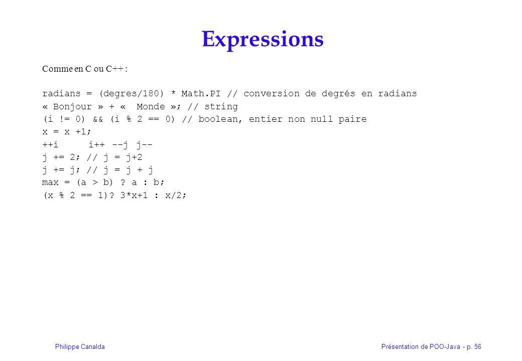 Expressions Comme en C ou C++ :