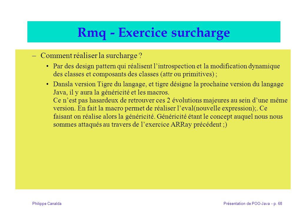 Rmq - Exercice surcharge