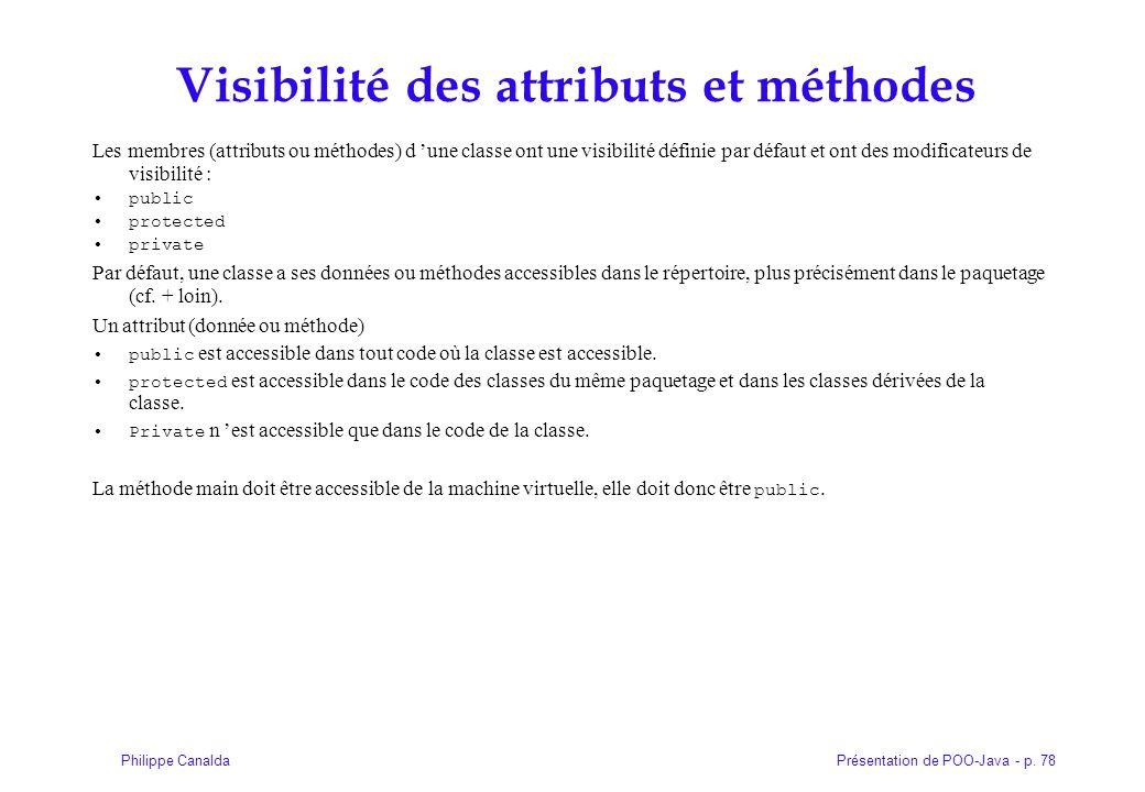 Visibilité des attributs et méthodes