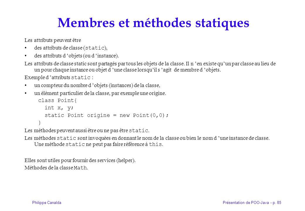 Membres et méthodes statiques