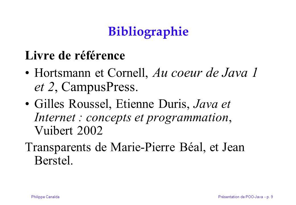 Bibliographie Livre de référence. Hortsmann et Cornell, Au coeur de Java 1 et 2, CampusPress.