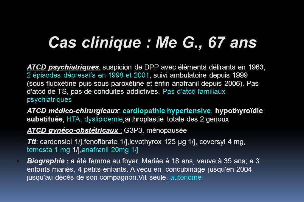 Cas clinique : Me G., 67 ans