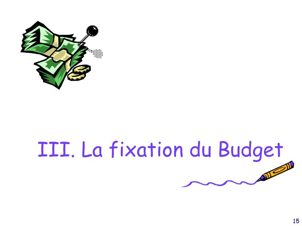 III. La fixation du Budget