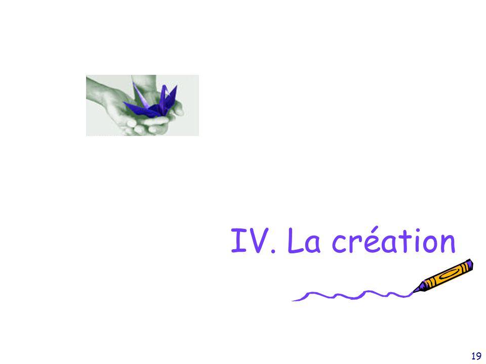 IV. La création
