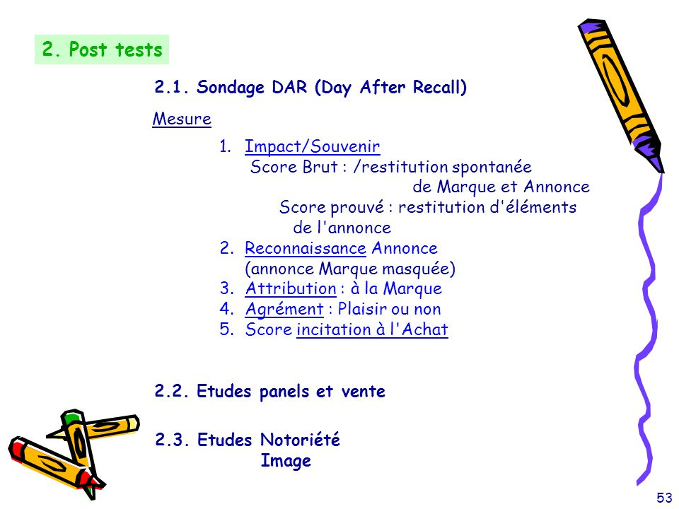 2. Post tests 2.1. Sondage DAR (Day After Recall) Mesure