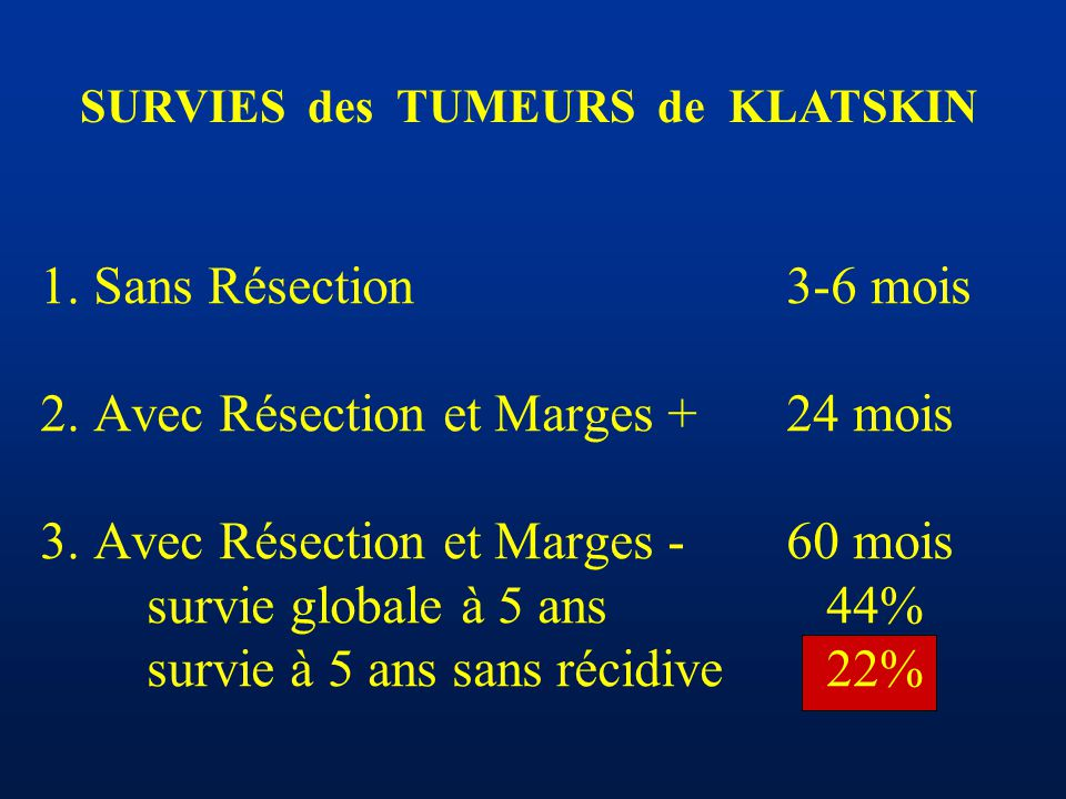 SURVIES des TUMEURS de KLATSKIN