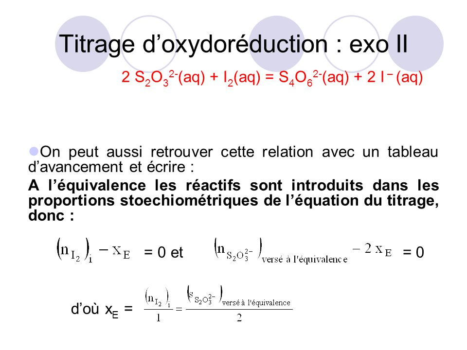 Titrage d'oxydoréduction : exo II