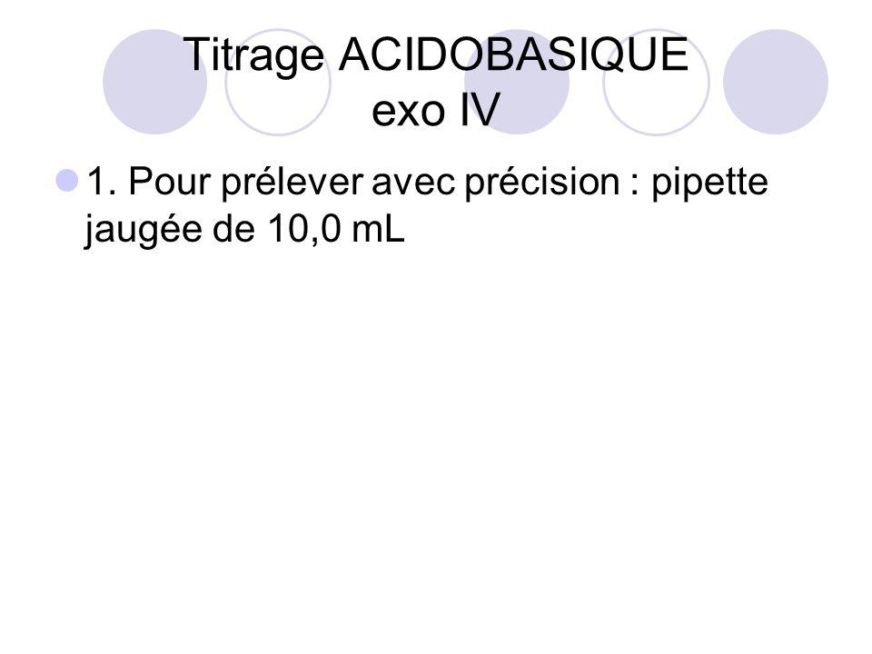 Titrage ACIDOBASIQUE exo IV