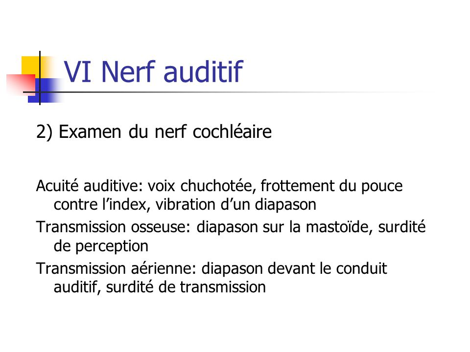 VI Nerf auditif 2) Examen du nerf cochléaire