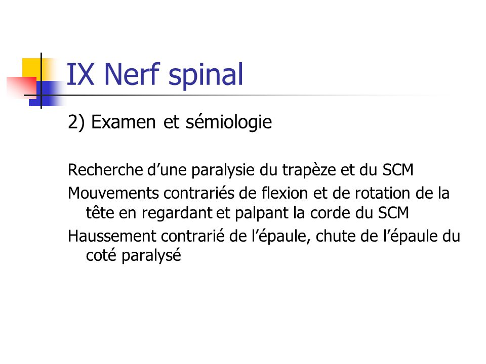 IX Nerf spinal 2) Examen et sémiologie