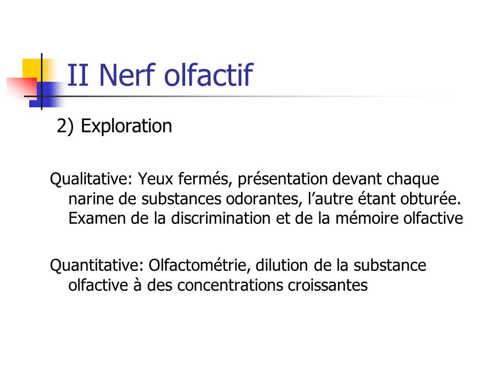 II Nerf olfactif 2) Exploration