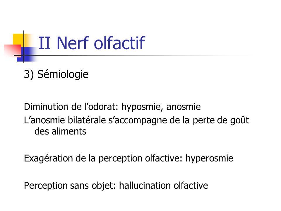 II Nerf olfactif 3) Sémiologie