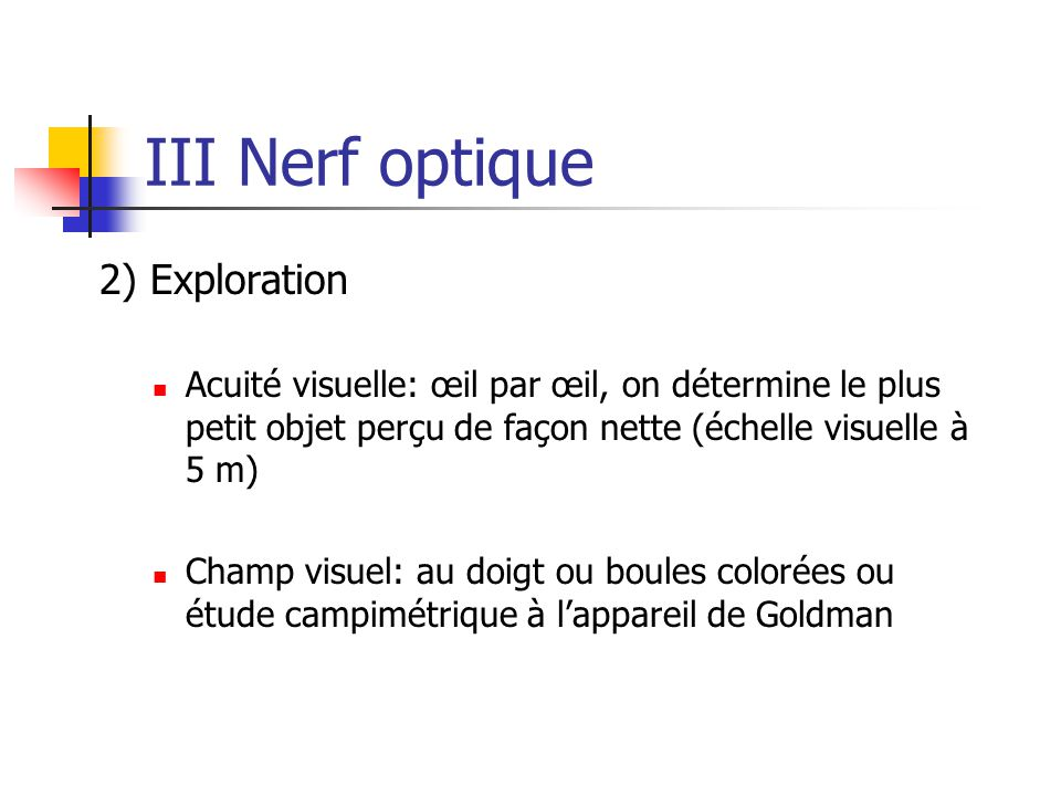 III Nerf optique 2) Exploration