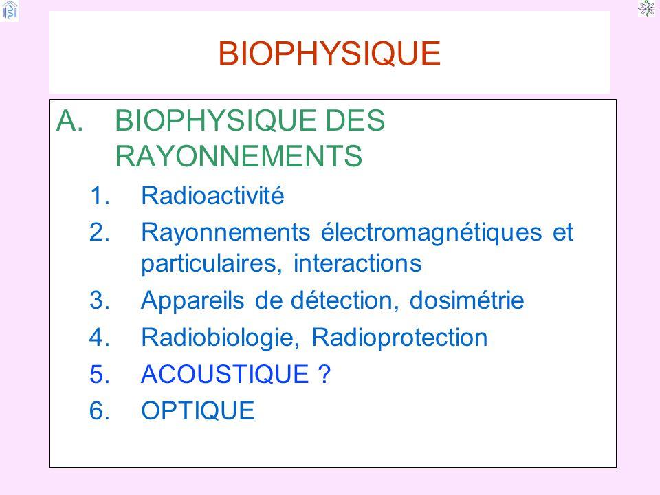 BIOPHYSIQUE BIOPHYSIQUE DES RAYONNEMENTS Radioactivité