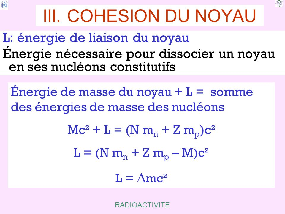 III. COHESION DU NOYAU L: énergie de liaison du noyau