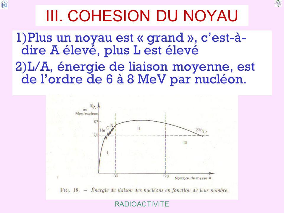 III. COHESION DU NOYAU Plus un noyau est « grand », c'est-à-dire A élevé, plus L est élevé.