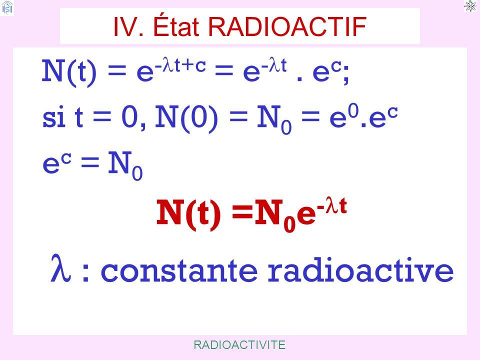 l : constante radioactive