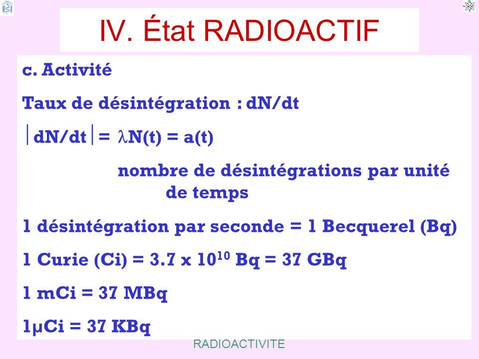 IV. État RADIOACTIF c. Activité Taux de désintégration : dN/dt