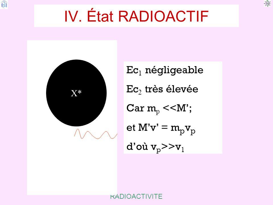 IV. État RADIOACTIF Ec1 négligeable Ec2 très élevée Car mp <<M';