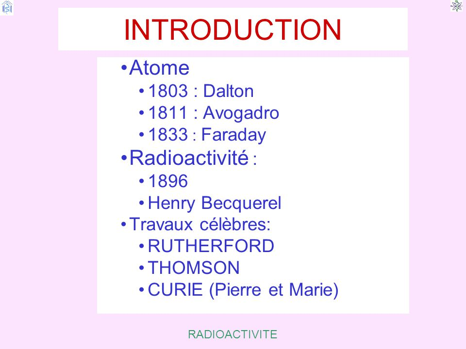 INTRODUCTION Atome Radioactivité : 1803 : Dalton 1811 : Avogadro