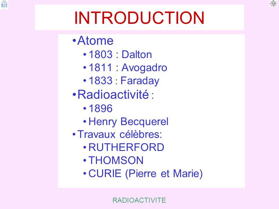 INTRODUCTION Atome Radioactivité : 1803 : Dalton 1811 : Avogadro