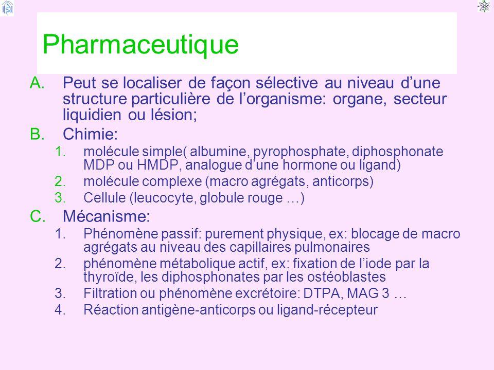 Pharmaceutique Peut se localiser de façon sélective au niveau d'une structure particulière de l'organisme: organe, secteur liquidien ou lésion;