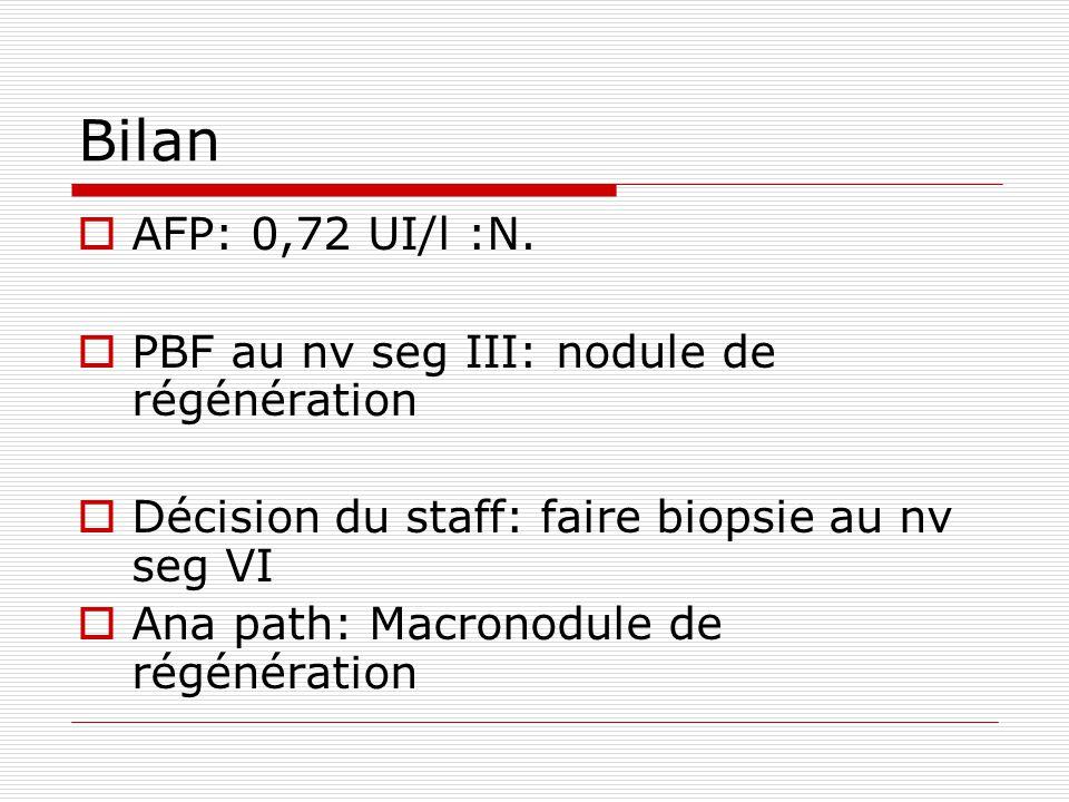 Bilan AFP: 0,72 UI/l :N. PBF au nv seg III: nodule de régénération