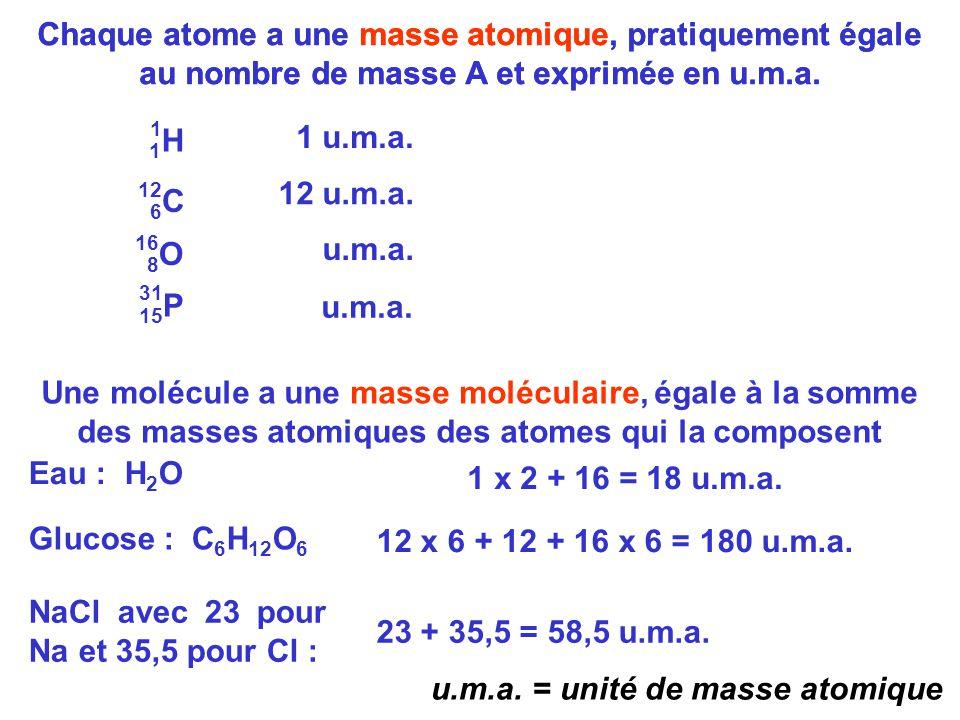NaCl avec 23 pour Na et 35,5 pour Cl : 23 + 35,5 = 58,5 u.m.a.