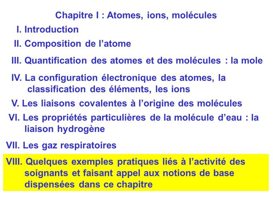 Chapitre I : Atomes, ions, molécules
