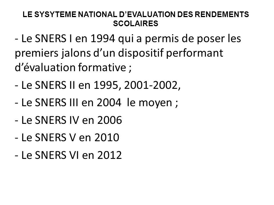 LE SYSYTEME NATIONAL D'EVALUATION DES RENDEMENTS SCOLAIRES