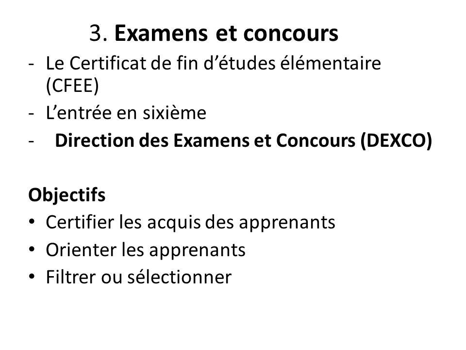 3. Examens et concours Le Certificat de fin d'études élémentaire (CFEE) L'entrée en sixième. Direction des Examens et Concours (DEXCO)