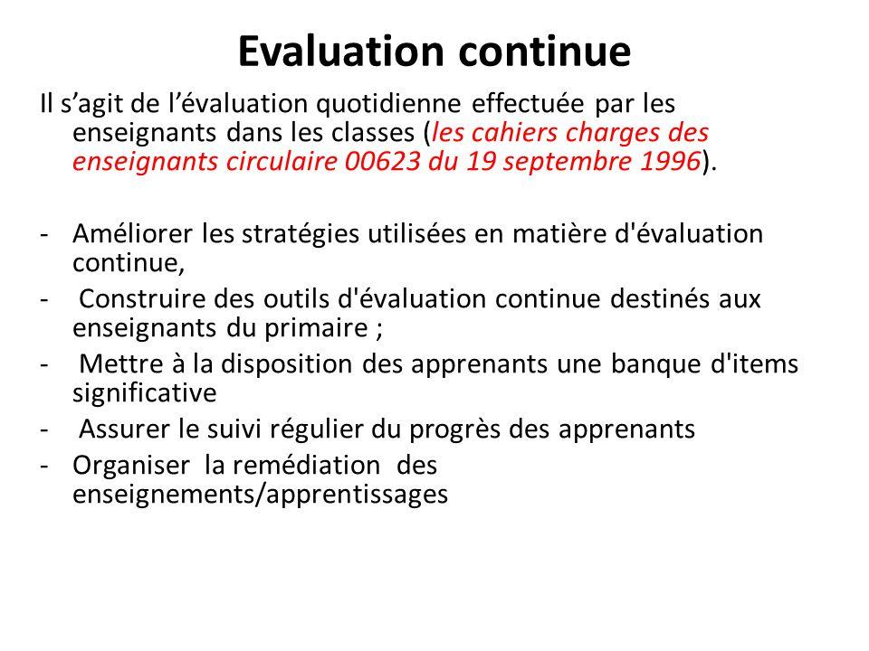 Evaluation continue