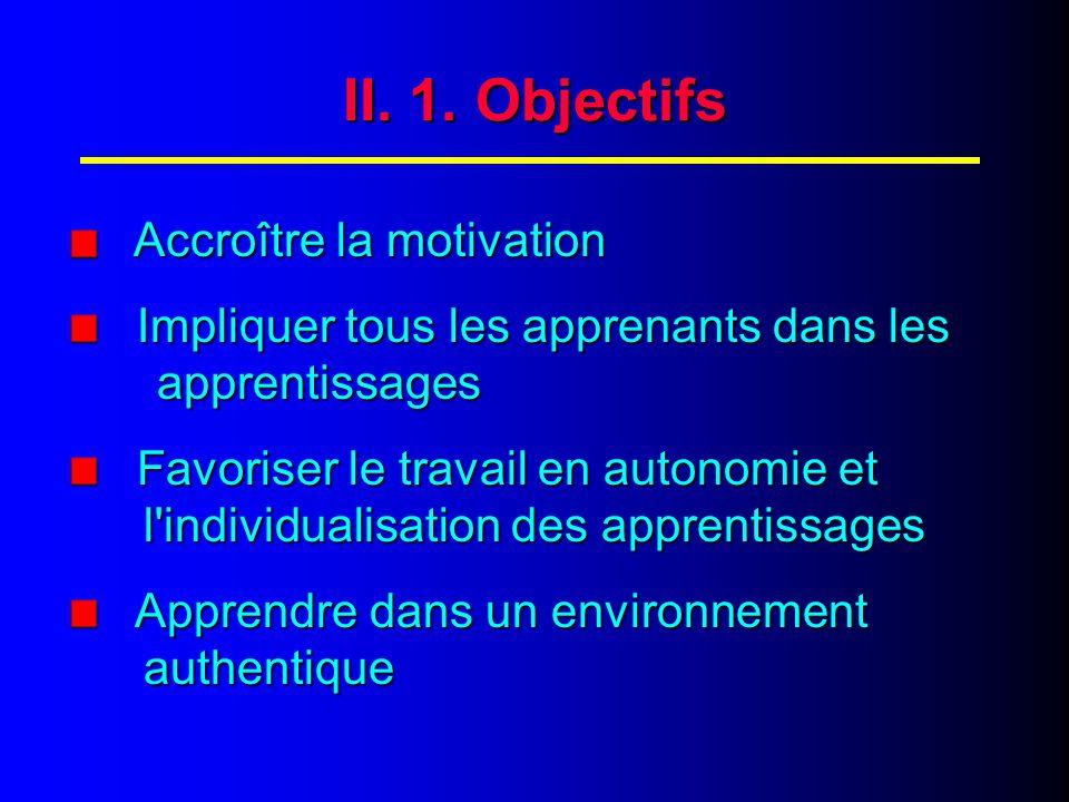 II. 2. Objectifs (suite) S'entraîner à communiquer