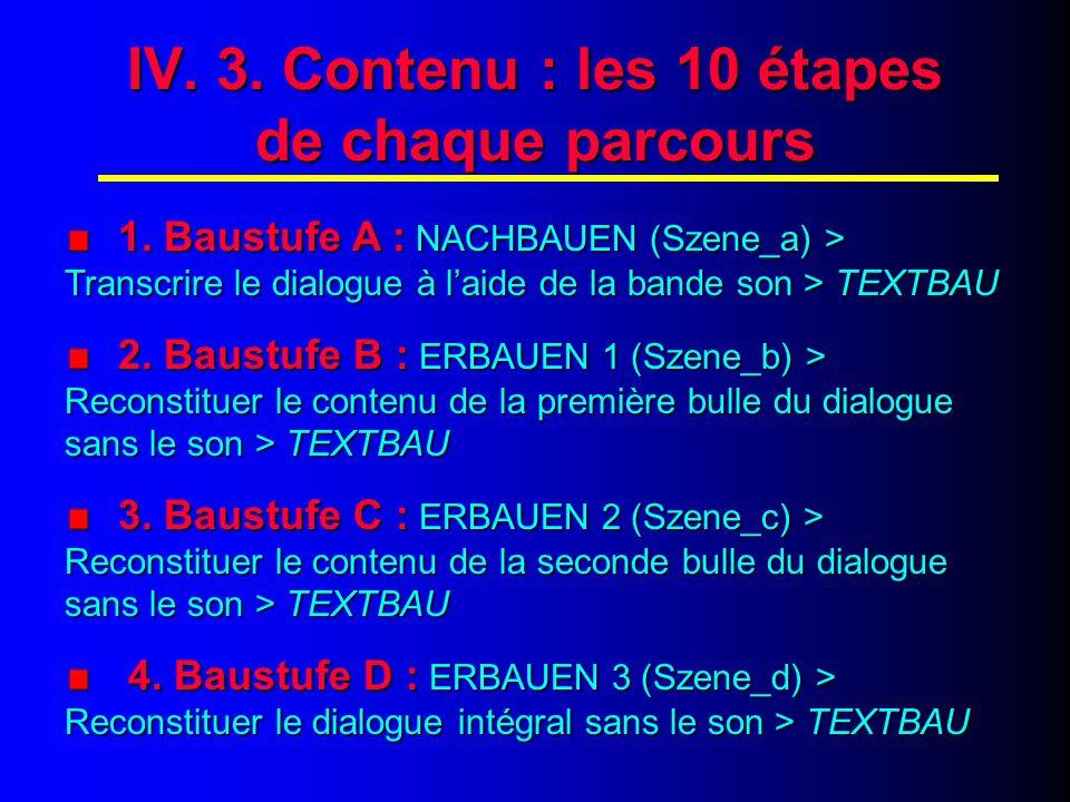 IV. 4. Contenu : les 10 étapes de chaque parcours (suite)