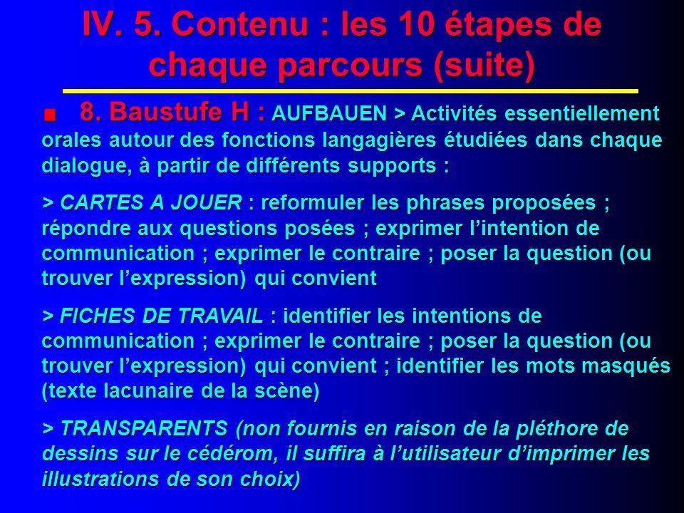 IV. 6. Contenu : les 10 étapes de chaque parcours (fin)