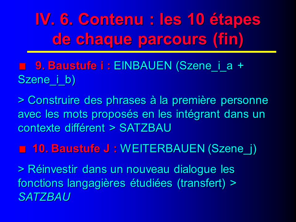 "IV. 7. Contenu : les 20 scènes de ""BAUSTEINE 1"