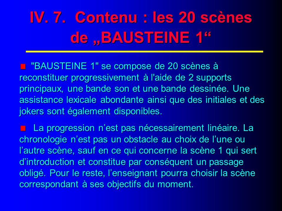 "IV. 8. Contenu : les 20 scènes de ""BAUSTEINE 1 : Scène 1"