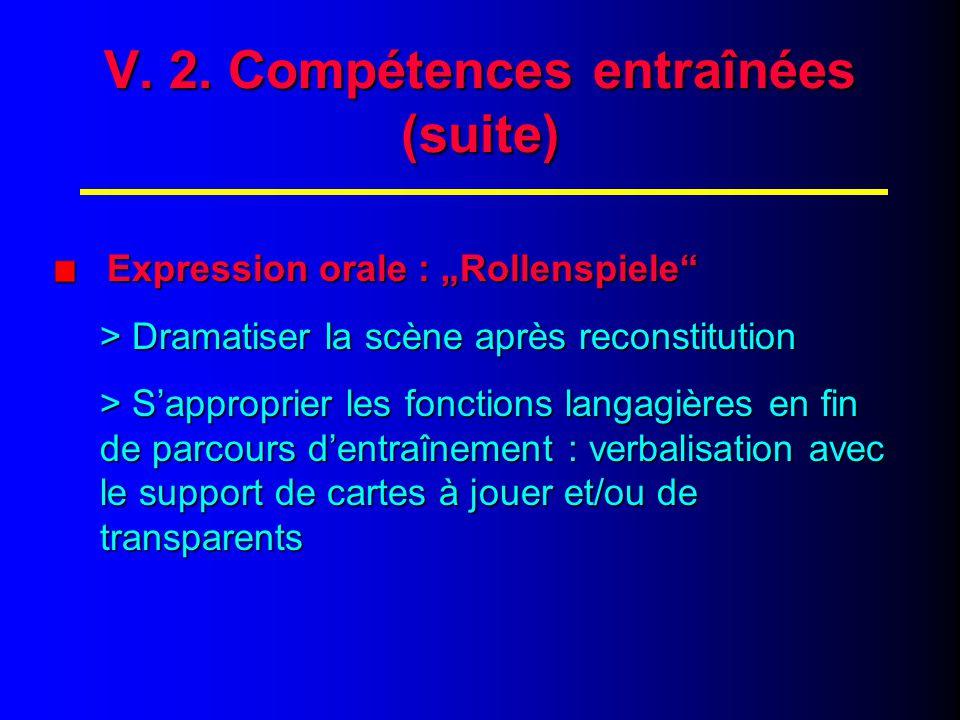 V. 3. Compétences entraînées (fin)