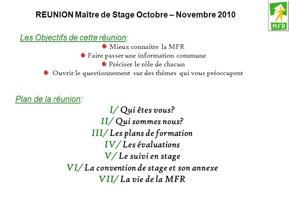III/ Les plans de formation IV/ Les évaluations V/ Le suivi en stage