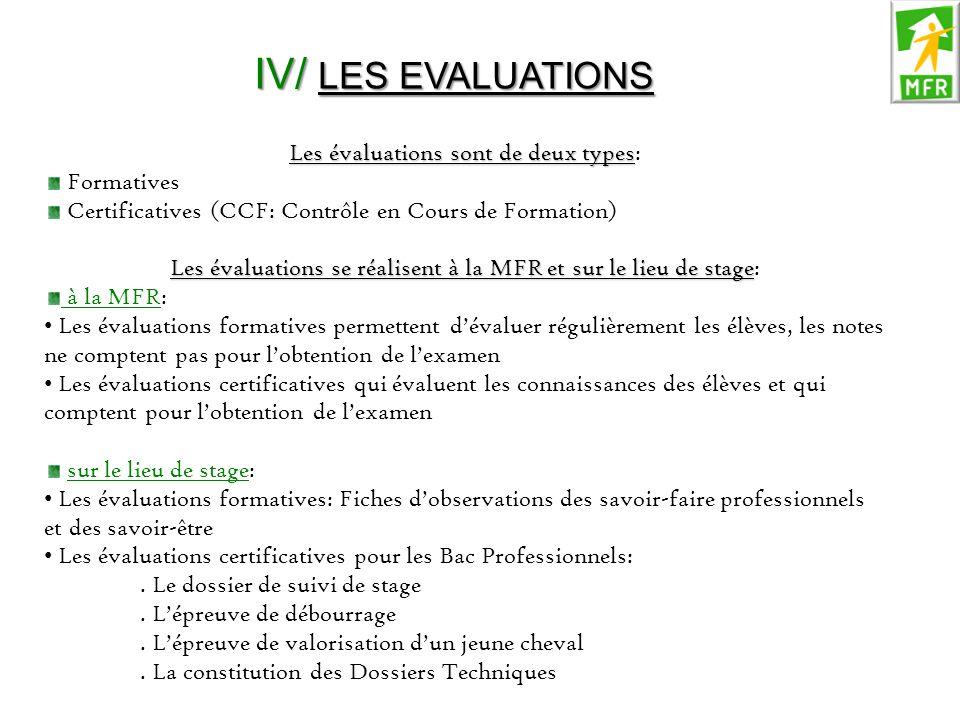 IV/ LES EVALUATIONS Les évaluations sont de deux types: Formatives