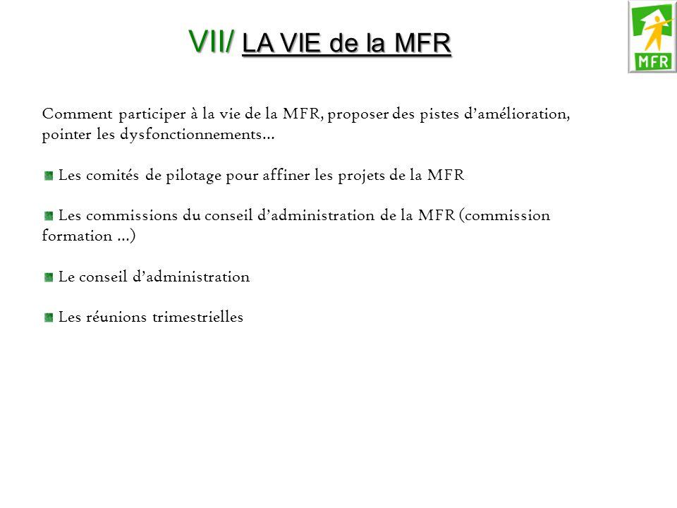 VII/ LA VIE de la MFR Comment participer à la vie de la MFR, proposer des pistes d'amélioration, pointer les dysfonctionnements…
