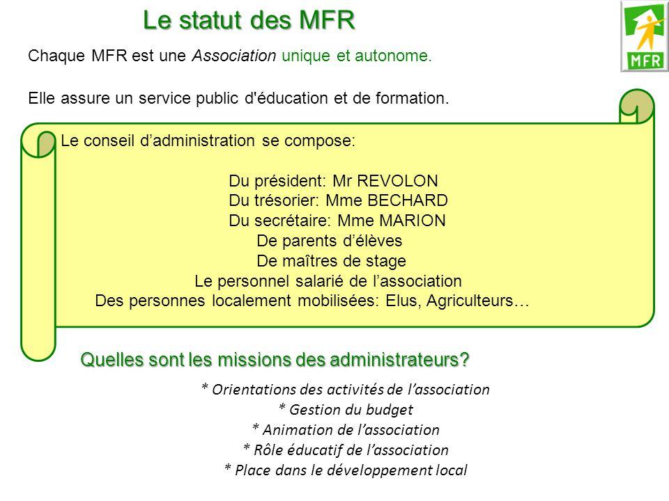 Le statut des MFR Quelles sont les missions des administrateurs