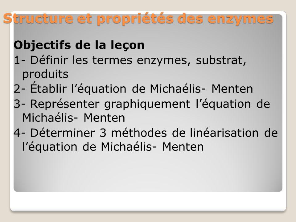 Structure et propriétés des enzymes