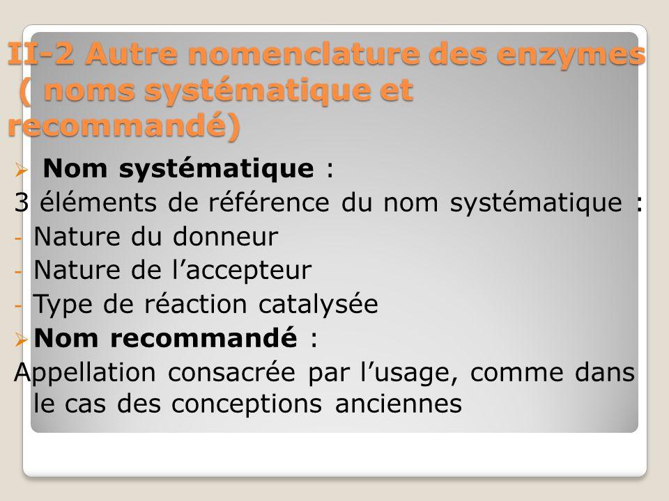 II-2 Autre nomenclature des enzymes ( noms systématique et recommandé)