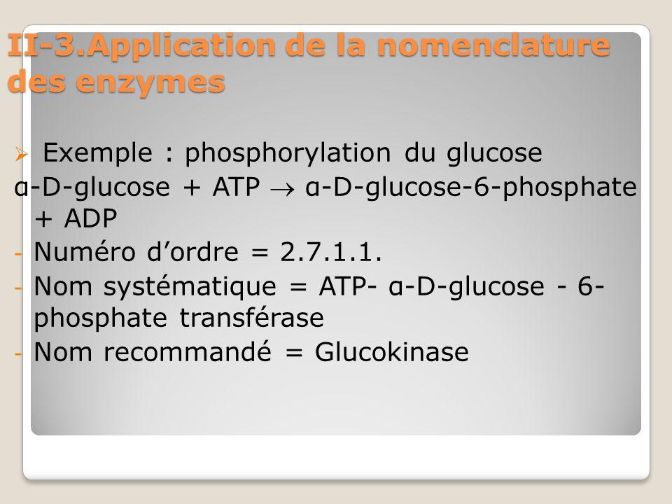 II-3.Application de la nomenclature des enzymes