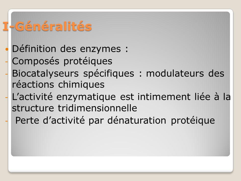 I-Généralités Définition des enzymes : Composés protéiques