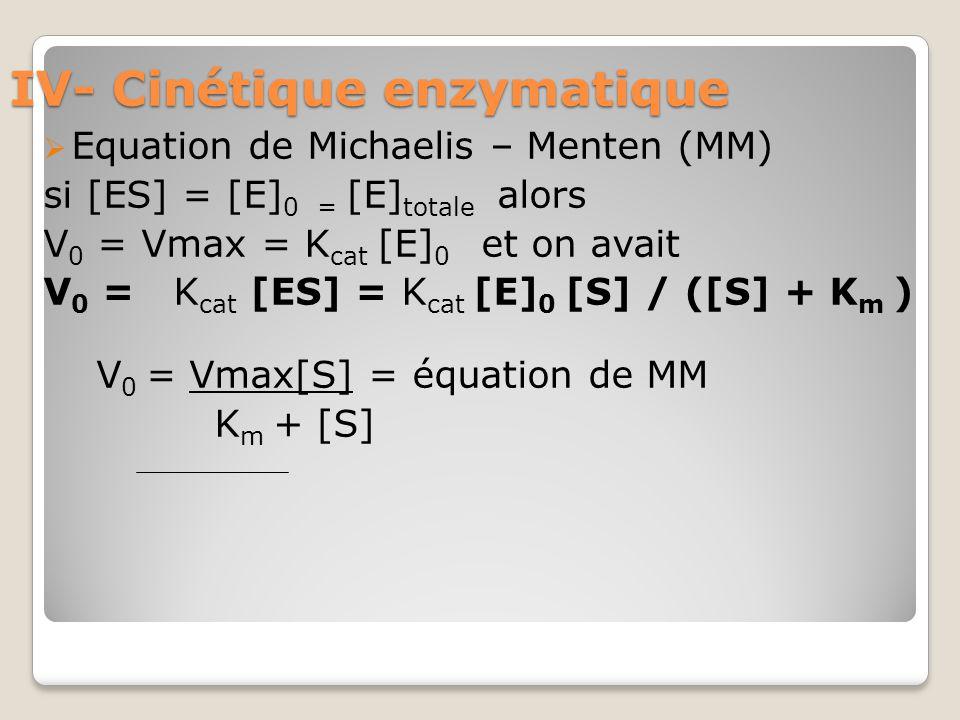 IV- Cinétique enzymatique