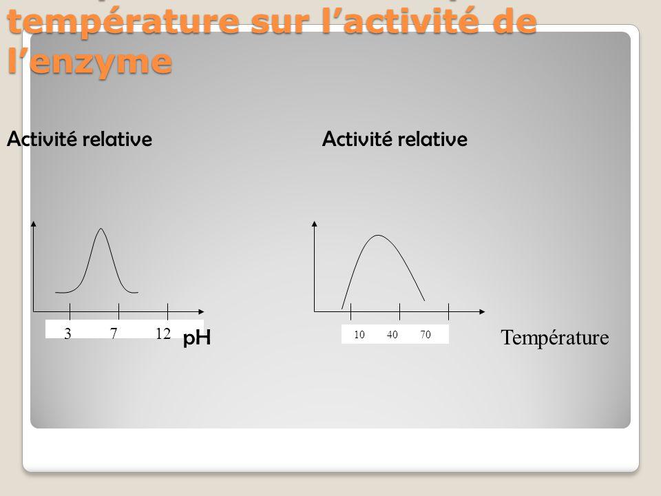 Récapitulatif des effets pH et température sur l'activité de l'enzyme