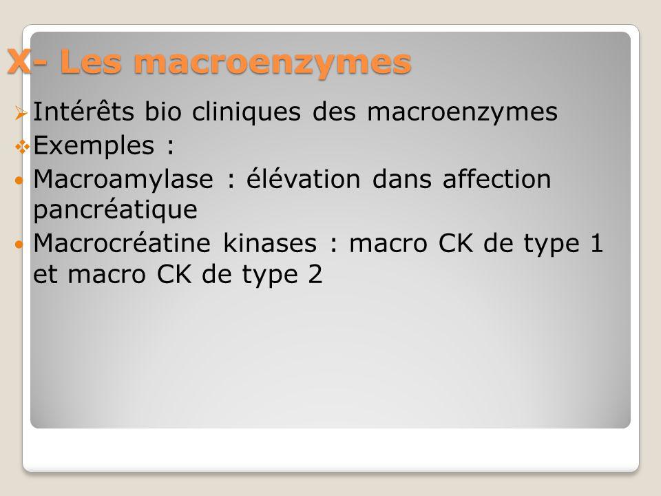 X- Les macroenzymes Intérêts bio cliniques des macroenzymes Exemples :